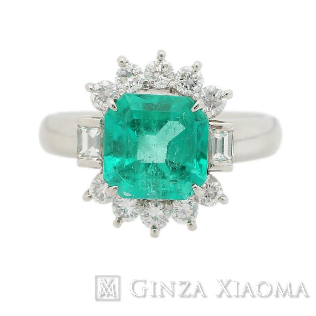 【13号】エメラルド 指輪 リング エメラルド 2.5ct ダイヤモンド 0.68ct PT900 プラチナ 中古