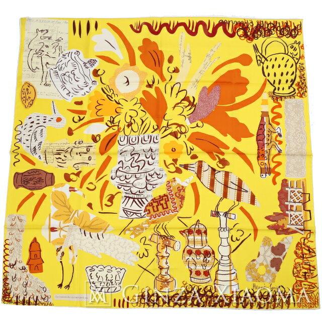【新品】 HERMES エルメス カレ90[La Maison des Oiseaux Parleurs おしゃべりな鳥たちの家] シルクスカーフ PS/JAUNE VIF/CARAMEL/CREME スカーフ イエロー系