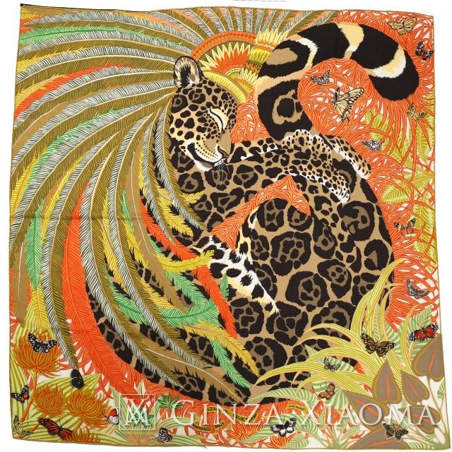 【新品】 HERMES エルメス ショール カレ 140[Jaguar Quetzal ジャガー ケツァール]カシミヤ70%/シルク30% vert/absinthe/orange/taupe グリーン/ベージュ系 マフラー・ストール 大判ストール