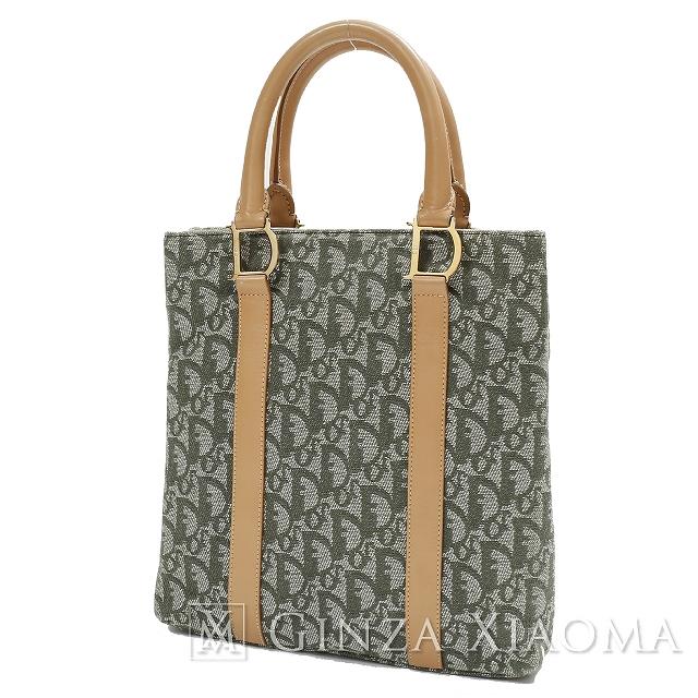【中古】 Christian Dior クリスチャンディオール トロッター ハンドバッグ グリーン ハンドバッグ
