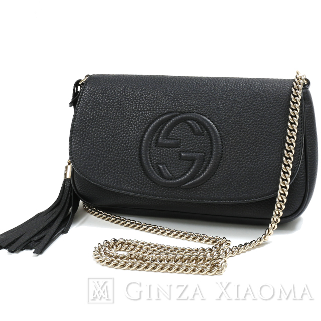 e33c9ecc217 GUCCI Gucci Soho leather tassel chain shoulder bag black 336752 shoulder bag