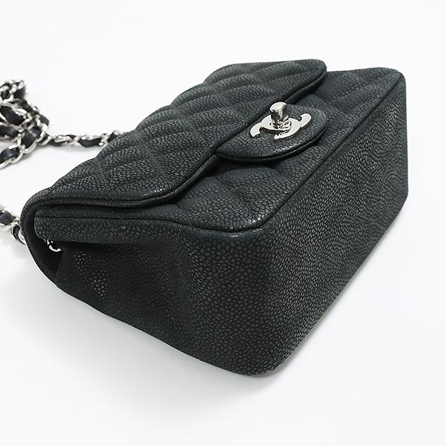 c719fbe44d36 CHANEL Chanel mini-matelasse single shoulder bag caviar skin black A35200  shoulder bag here mark