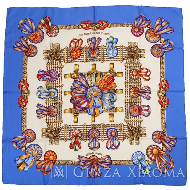 【中古】 HERMES エルメス カレ90 [LES RUBANS DU CHEVAL 馬のリボン飾り] ブルー/ベージュ系 シルク スカーフ