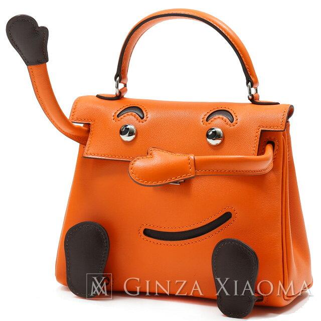 【新品同様】 HERMES エルメス ケリードール ヴォーガリバー オレンジ シルバー金具 D刻印 ハンドバッグ