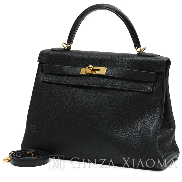 【中古】 HERMES エルメス ケリー32 トリヨンクレマンス ブラック ゴールド金具 □R刻印 ハンドバッグ