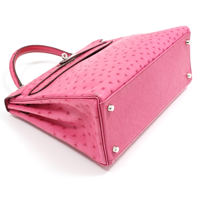 b5146d50c056 ... release date hermes hermes kelly 32 ostrich fuchsia pink silver metal  fittings i carved seal handbag