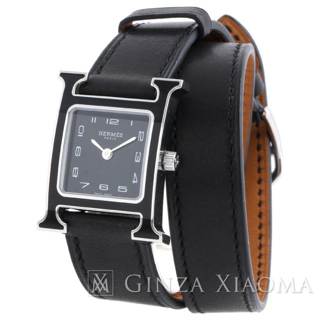 【新品】 HERMES エルメス Hウォッチ ドゥブルトゥール SS×レザー QZ HH1.221 レディース 腕時計