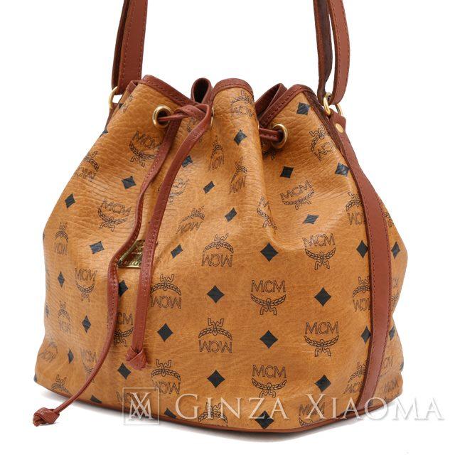 【中古】 MCM エムシーエム ショルダーバッグ ロゴグラム ブラウン ショルダーバッグ 巾着バッグ