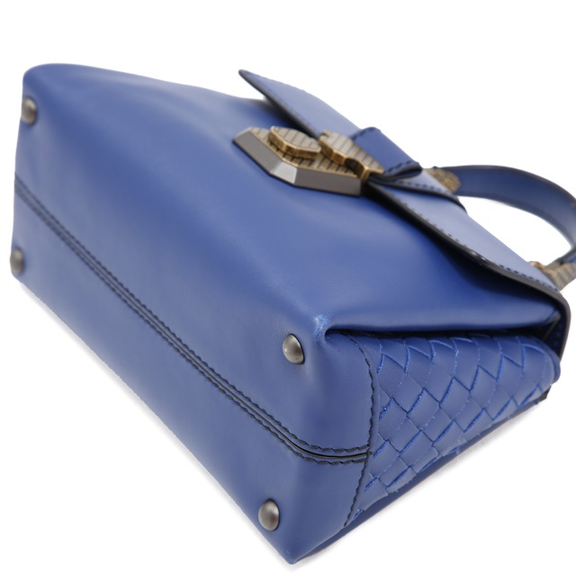 a076b276fdd9f ... Bottega Veneta Piazza small 2WAY bag leather blue 498992 handbag ...