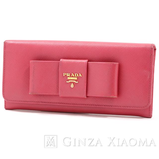 【中古】 PRADA プラダ サフィアーノ 2つ折り長財布 ピンク 長財布