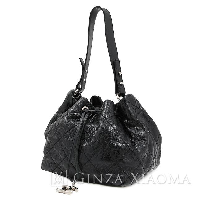 【中古】 CHANEL シャネル オンザロード ワンショルダー カーフ ブラック ショルダーバッグ 巾着バッグ ココマーク