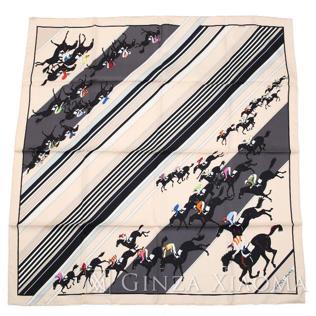 【中古】 HERMES エルメス カレ90 ホース 乗馬柄 競馬 クリーム シルク スカーフ