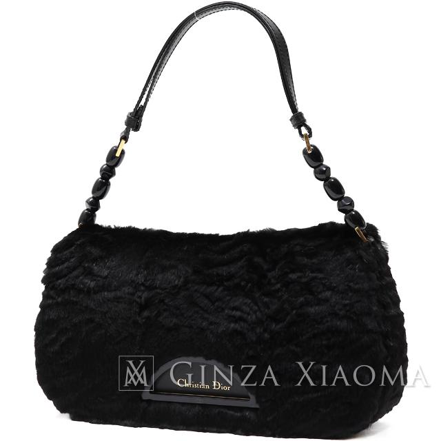 【中古】 Christian Dior クリスチャンディオール マリスパール ファーショルダー ブラック ショルダーバッグ
