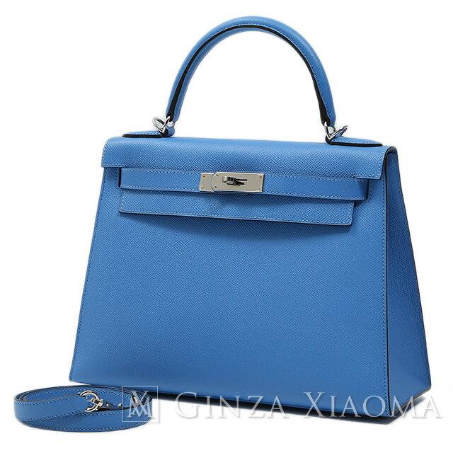 【未使用】 HERMES エルメス ケリー28 エプソン ブルーパラダイス シルバー金具 T刻印 外縫い ハンドバッグ