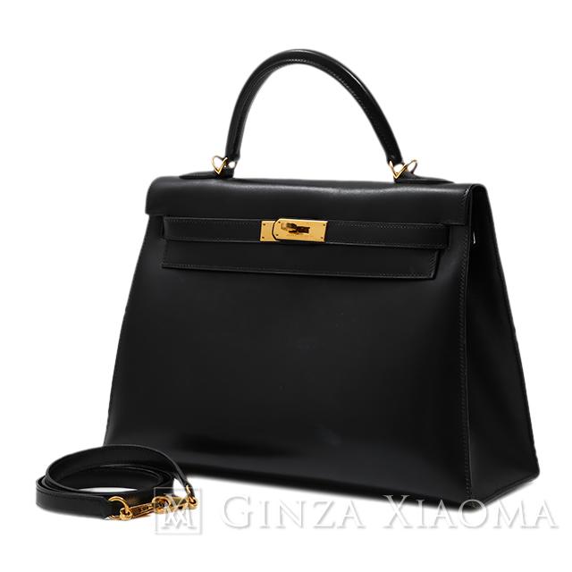 【中古】 HERMES エルメス ケリー32 ボックスカーフ ブラック ゴールド金具 D刻印 外縫い ハンドバッグ