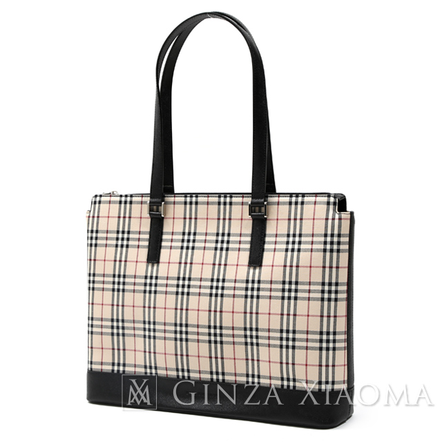 657e53f9b119 GINZA XIAOMA  BURBERRY Burberry checked pattern canvas tote bag ...