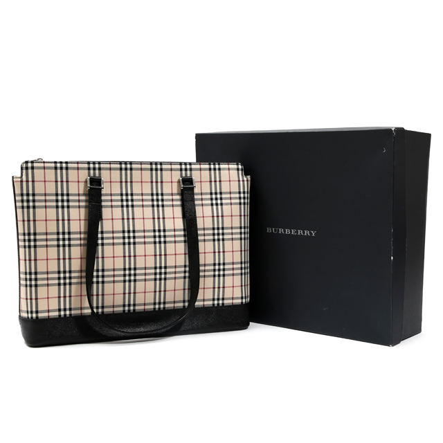 c39513bfca5d BURBERRY Burberry checked pattern canvas tote bag beige X black shoulder bag