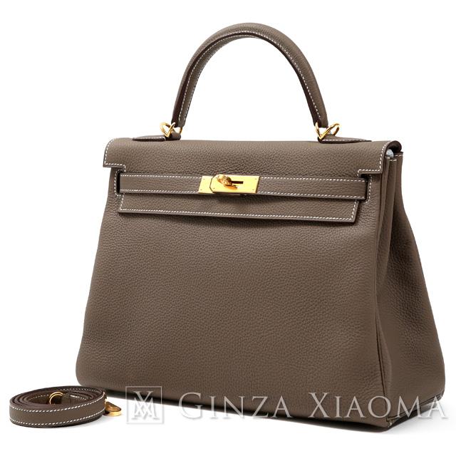 【新品】 HERMES エルメス ケリー32 トゴ エトゥープ ゴールド金具 C刻印 内縫い ハンドバッグ