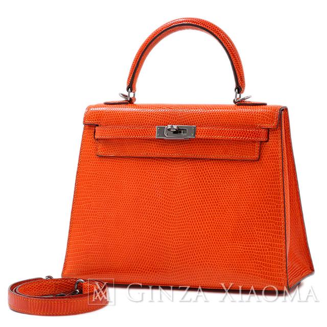 【中古】 HERMES エルメス ケリー25 リザード オレンジ シルバー金具 K刻印 外縫い ハンドバッグ