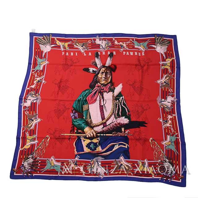 【新品】 HERMES エルメス カレ90 [PANI LA SHAR PAWNEE パウニー族の首長 ] シルク レッド系 スカーフ 最新作