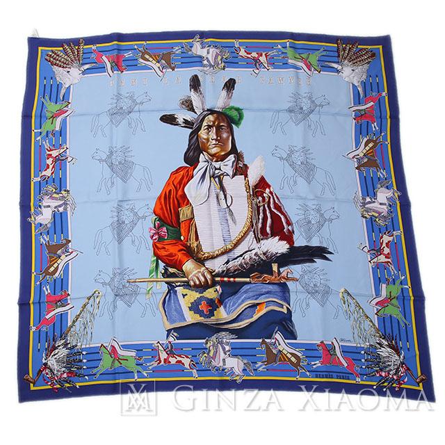 【新品】 HERMES エルメス カレ90 [PANI LA SHAR PAWNEE パウニー族の首長] シルク ブルー系 スカーフ 最新作