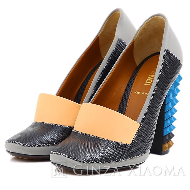 【未使用】 FENDI フェンディ スタッズヒール レザーパンプス #36 ブラック×グレー 靴