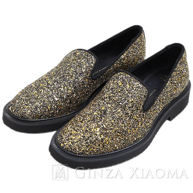 【未使用】Giuseppe Zanotti ジュゼッペザノッティ ラメ グリッターローファー ゴールド/ブラック #43 約27.5cm 靴 メンズ mns