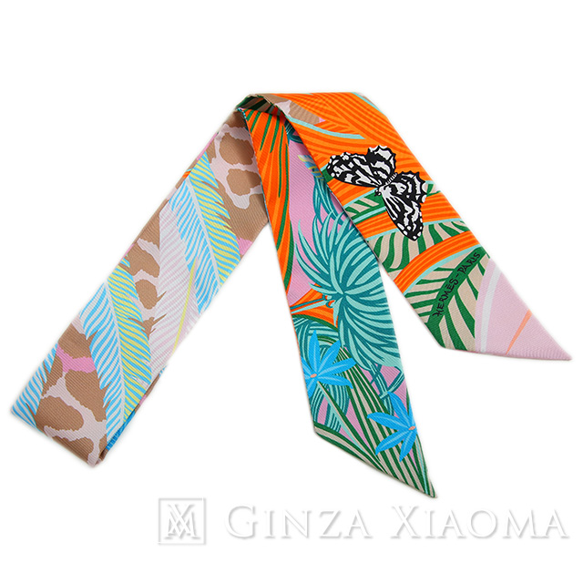 【新品】 HERMES エルメス ツイリー [Jaguar Quetzal ジャガー=ケツァール] グリーン/ローズ/ベージュ/オレンジ スカーフ