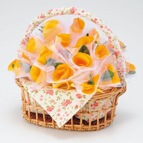 バスケット付プチギフト【ほの花のバニエ 耳かき オレンジ50個セット】結婚式二次会に