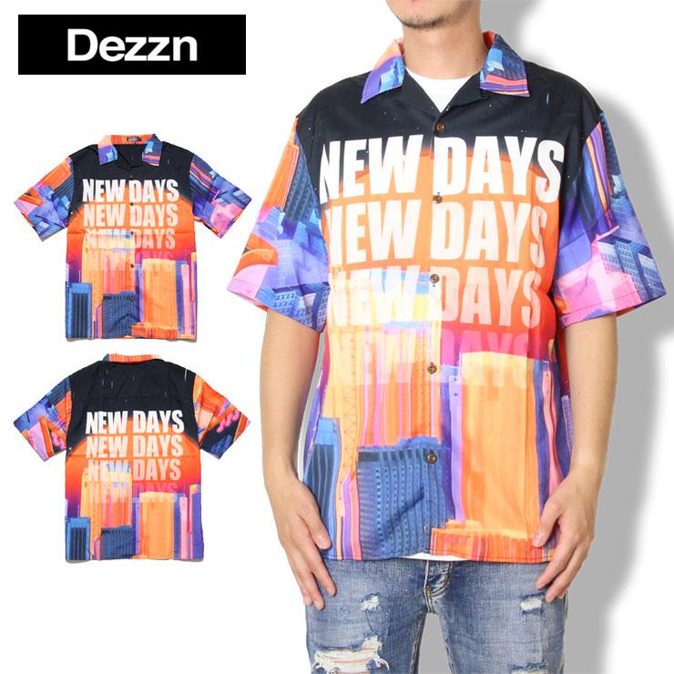 【スーパーSALE 10%OFFクーポン対象商品!】【SALE】DEZZN デジーン 総柄プリント オープンシャツ シャツ 半袖シャツ New Days Shirts IN9250S グラフィック サマーシャツ マルチ M L