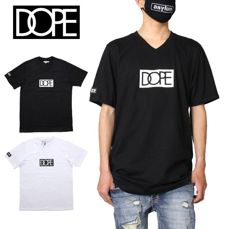 Tシャツ 半袖Tシャツ DOPE ドープ SALE30%OFF 半袖 Vネック メンズ 定番から日本未入荷 レディース ブランド 綿100% プリント ロゴ 大きいサイズ LOGO おしゃれ V-NECK オンラインショップ XL M ブラック XXL 20DP-SP28B かっこいい ホワイト TEE L BOX