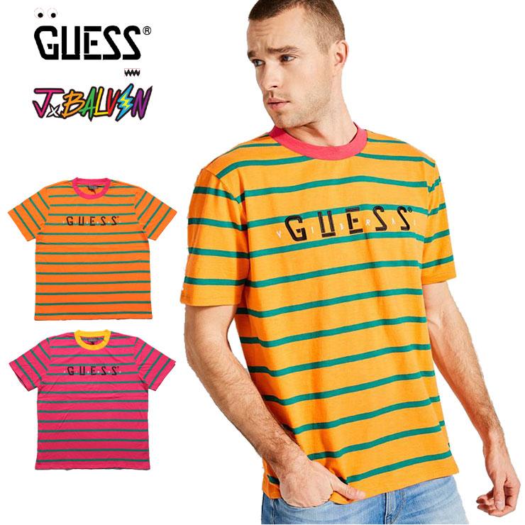 GUESS GREEN LABEL ゲスグリーンレーベル GUESS X J BALVIN OVERSIZED STRIPED LOGO TEE M91P86R6CY2 men gap Dis M L XL T shirt horizontal stripe orange pink yellow