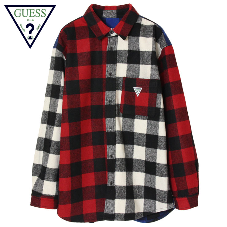 【スーパーSALE 10%OFFクーポン対象商品!】【SALE】ゲス グリーンレーベル GUESS GREEN LABEL フランネルシャツ チェック メンズ レディース 大きいサイズ Multi Color Button Shirt GRFW19-029 マルチ M L XL