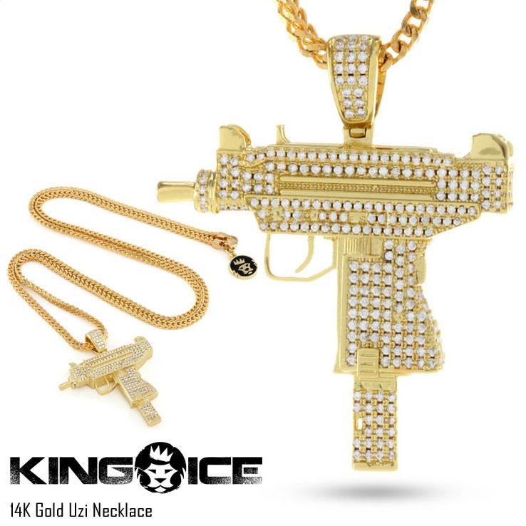 キングアイス 14Kゴールド コーティング UZI ネックレス KING ICE 14K GOLD UZI NECKLACE