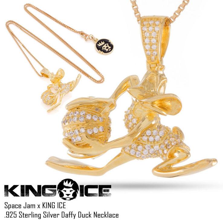 【スーパーSALE 10%OFFクーポン対象商品!】KING ICE キングアイス ダフィー・ダック ネックレス 14Kゴールド コーティング SPACE JAM X KING ICE - .925 STERLING SILVER DAFFY DUCK NECKLACE メンズ HIP HOP ヒップホップ ストリート系
