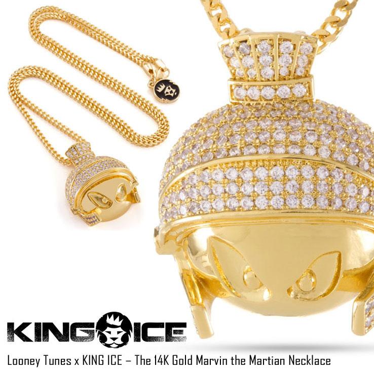 【スーパーSALE 10%OFFクーポン対象商品!】KING ICE キングアイス LOONEY TUNES X KING ICE – THE 14K GOLD MARVIN THE MARTIAN メンズ レディース 秋冬 ネックレス 14Kゴールド ONE SIZE