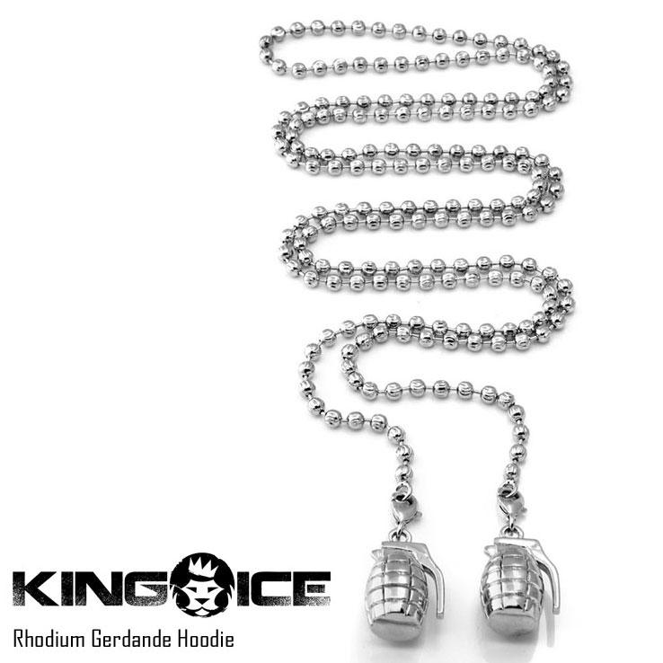 【スーパーSALE 10%OFFクーポン対象商品!】KING ICE キングアイス RHODIUM GERDANDE HOODIE メンズ レディース ネックレス シルバー ONE SIZE