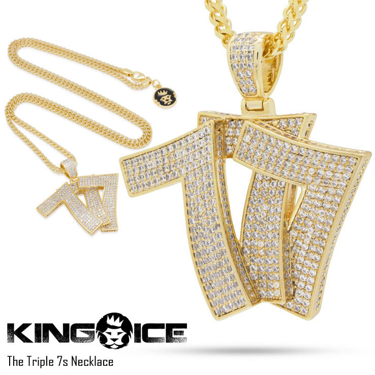 【スーパーSALE 10%OFFクーポン対象商品!】KING ICE キングアイス THE TRIPLE 7S NECKLACE メンズ レディース ネックレス ゴールド ONE SIZE