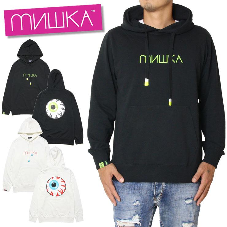 【10%OFFクーポン配布中】MISHKA ミシカ プルオーバーパーカー HOOD MAW190402 ネオン プリント パイル地 ラバー ブラック ホワイト M L XL