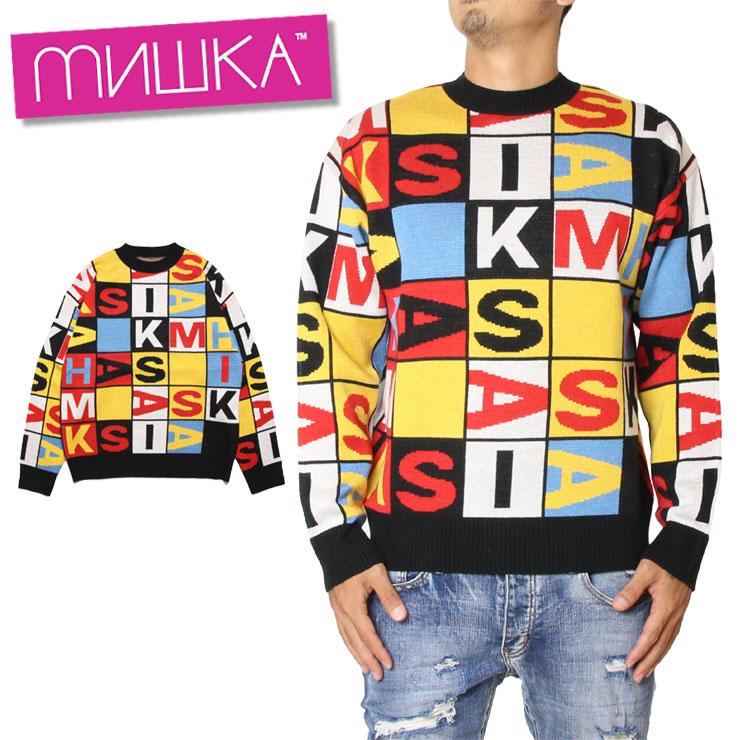 【スーパーSALE 10%OFFクーポン対象商品!】【SALE】ミシカ ロゴニット MISHKA KNIT MAW190312 チェッカー 大大きいサイズ お洒落 かっこいい セーター ストリート