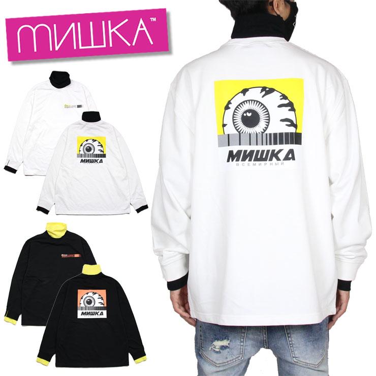 【スーパーSALE 10%OFFクーポン対象商品!】ミシカ MISHKA ロンT 重ね着 長袖Tシャツ スウェット メンズ レディース ブランド 大きいサイズ CREW MAW200422 ホワイト ブラック M L XL
