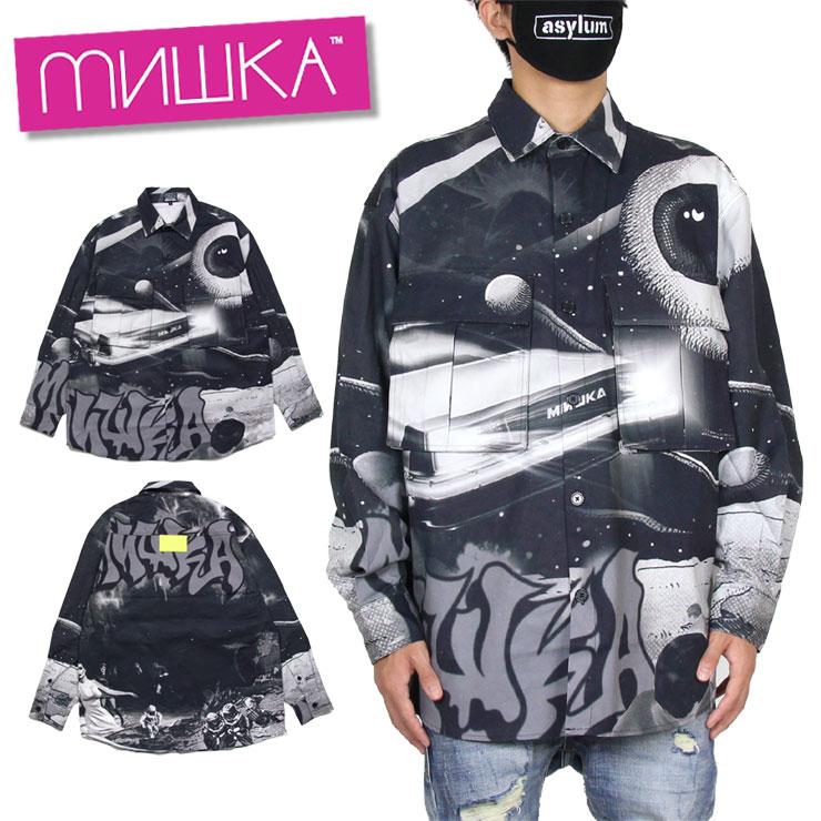 【スーパーSALE 10%OFFクーポン対象商品!】ミシカ MISHKA シャツ 総柄シャツ 長袖シャツ メンズ レディース ブランド 大きいサイズ SHIRT MAW200201 ブラック M L