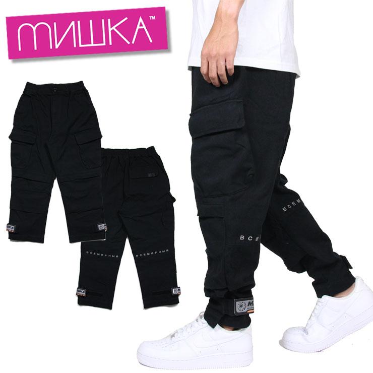 【スーパーSALE 10%OFFクーポン対象商品!】ミシカ MISHKA ワークパンツ カーゴパンツ メンズ レディース ブランド 大きいサイズ PANT MAW200828 ブラック M L XL