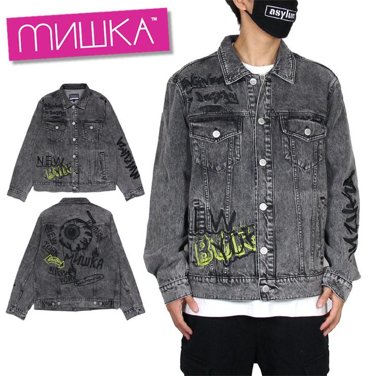 【スーパーSALE 10%OFFクーポン対象商品!】ミシカ MISHKA デニムジャケット Gジャン メンズ レディース ブランド 大きいサイズ JKT MAW200512 グレー M L XL