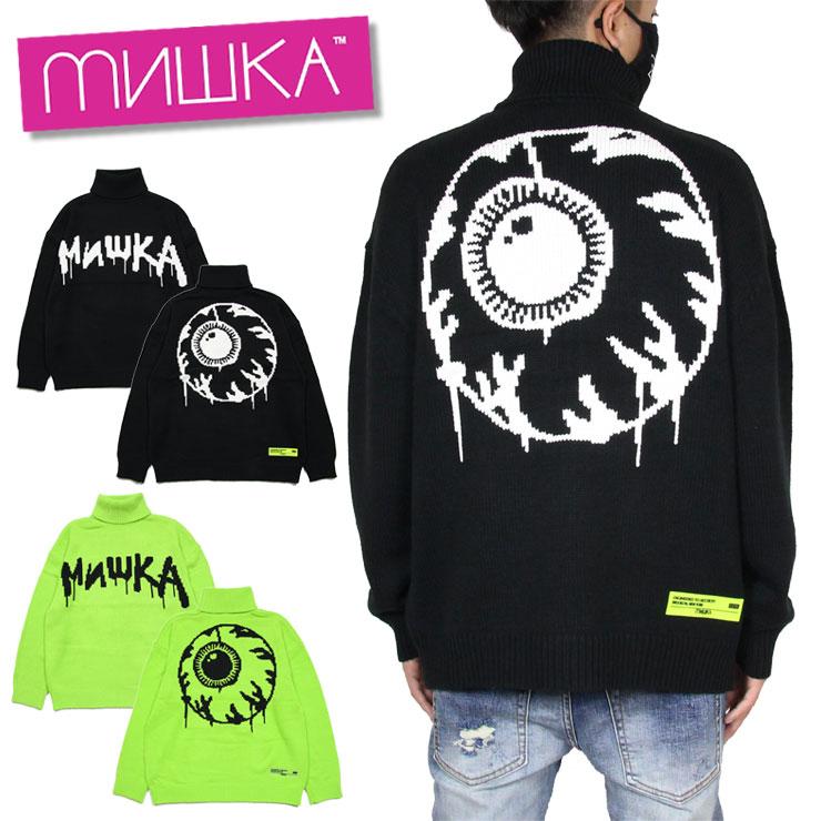 ミシカ MISHKA ニット セーター タートルネック メンズ レディース ブランド 大きいサイズ KNIT MAW200377 ブラック セーフティグリーン M L XL
