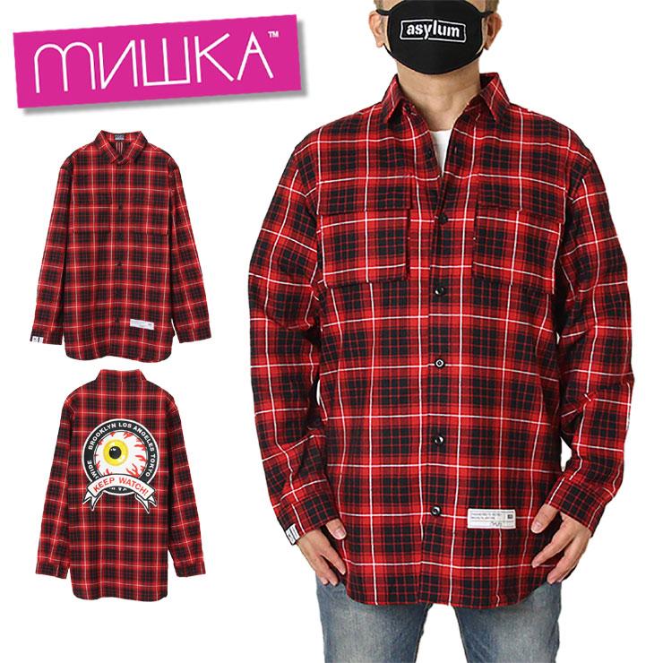 【スーパーSALE 10%OFFクーポン対象商品!】【SALE】ミシカ MISHKA チェックシャツ メンズ レディース ブランド 大きいサイズ CHECK SHIRT MSS200252 ブラック M L XL