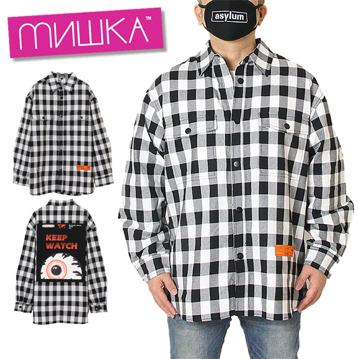 【スーパーSALE 10%OFFクーポン対象商品!】【SALE】ミシカ MISHKA チェックシャツ メンズ レディース ブランド 大きいサイズ CHECK SHIRT MSS200251 ブラック M L