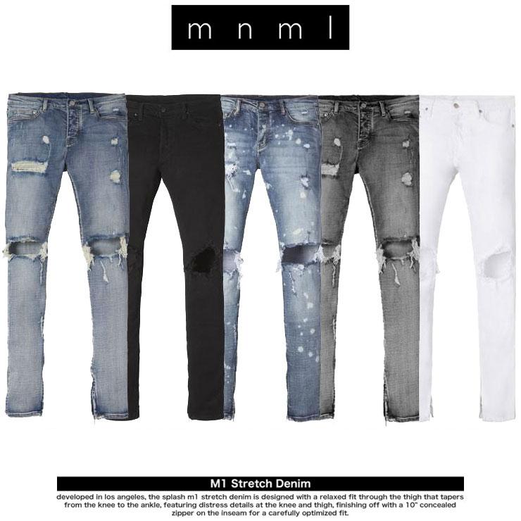 (30・32・34) 【DENIM BLUE】 (通販 メンズ デニム ストレッチ ジーンズ ロング コットン パンツ ストレート ウォッシュ ブルー) mnml M12 STRETCH DENIM PANTS