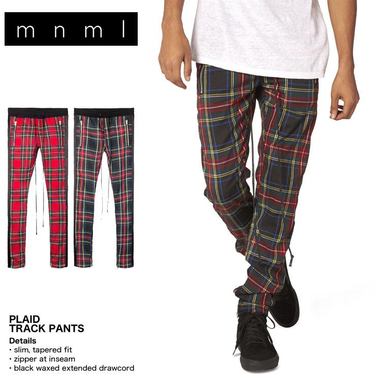 mnml ミニマル 裾ZIP(ジップ) mnml PLAID TRACK PANTS 18ML-SP388P ラインパンツ トラックパンツ タータンチェック レッド グリーン S/M/L/XL