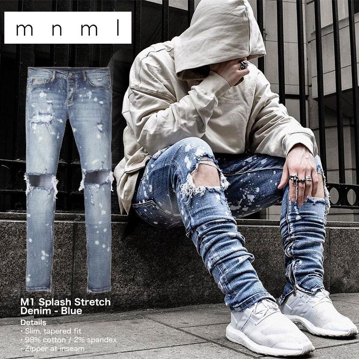 mnml ストレッチ 裾ZIPジップ ダメージクラッシュジーンズ mnml M1 SPLASH STRETCH DENIM BLUE/ミニマル デニム/クラッシュデニムパンツ/スキニー/スリムフィット/B系/ストリート系メンズファッション